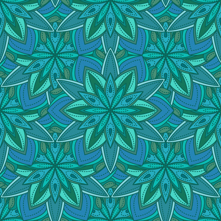 Vector teal mandala seamless pattern. Round ornament seamless pattern. Could be used foe textile, fabric.
