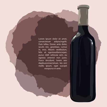 Bottle of red wine on wine stains. Vector. Watercolor imitation. Hand drawn. Template for wine list, wine menu.