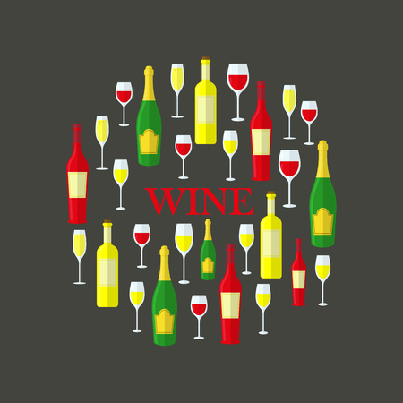 Flat bottles of red wine, white wine and shampagne, wine glasses in circle. Vector. Gray background.