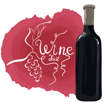 Bottle of red wine with hand drawn grapes and white lettering wine list on red wine stains. Vector. Watercolor imitation. Hand drawn. Wine list.
