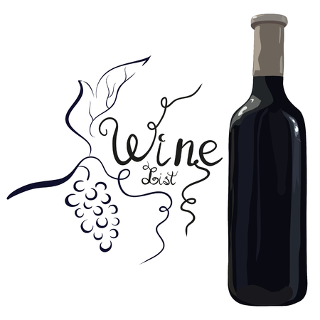 Bottle of red wine with hand drawn grapes and lettering wine list on white background. Vector. Watercolor imitation. Hand drawn. Wine list.