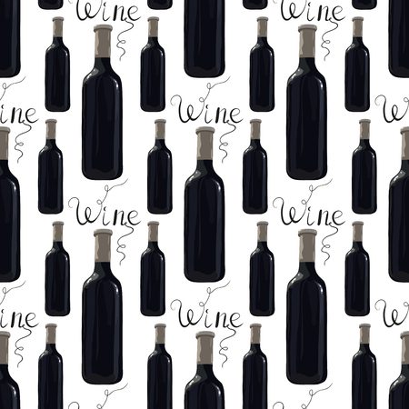 Seamless pattern with bottle of red wine and inscription wine. Vector. Watercolor imitation. Hand drawn. Wine lettering.