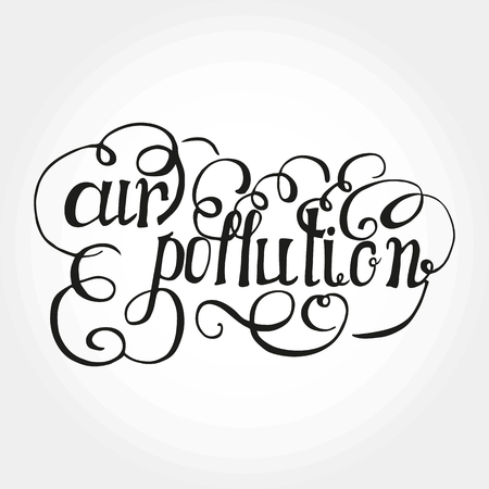 Air pollution lettering illustration on white background.