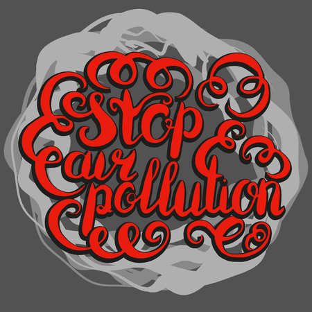 Stop air pollution lettering illustration on gray background.