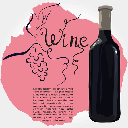 Bottle of red wine with hand drawn grapes illustration.