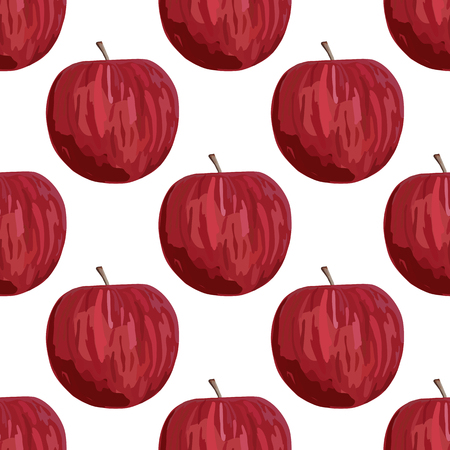 Seamless pattern with red apples illustration on white background. 向量圖像