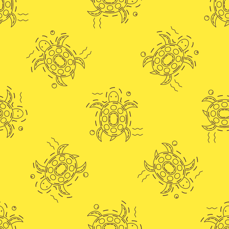 Seamless pattern sea turtle in thin line stile, vector. Brown sea turtles on yellow background. Could be used foe textile, fabric.