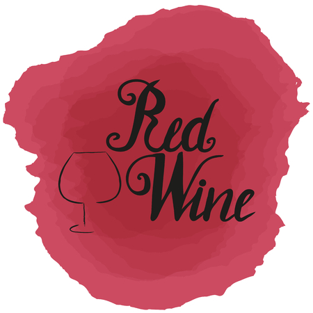 Hand drawn wineglass silhouette and lettering red wine on red wine stains. Vector. Brush pen, inc.