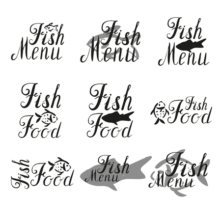 Lettering fish menu, fish food, hand drawn with brush pen.