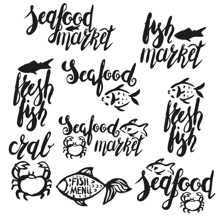 Lettering fresh fish, seafood market, fish market, seafood, hand drawn with brush pen. 向量圖像