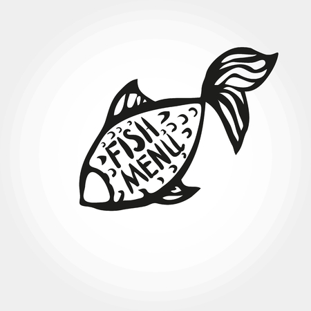 Lettering fish menu in fish silhouette, hand drawn with brush pen, inc. Vector. 向量圖像