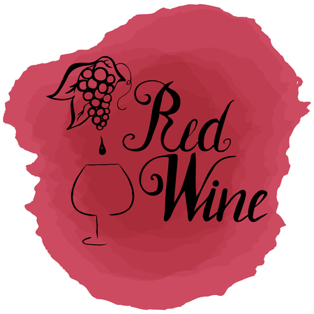 Hand drawn wineglass silhouette, grape with drop of wine and lettering red wine. Vector. Brush pen, inc.