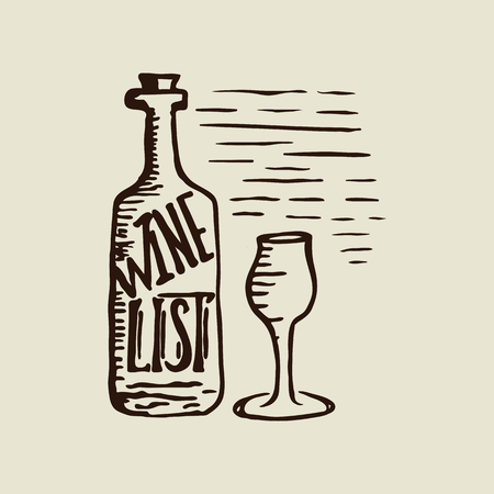 Hand drawn bottle of wine, wineglass and lettering wine list. Vector.  向量圖像