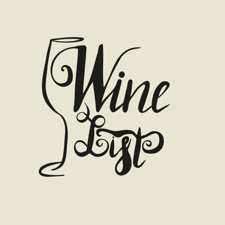 Hand drawn wineglass silhouette and lettering wine list. Vector. Brush pen, inc. Wine.