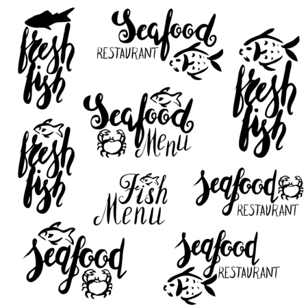 Lettering fish menu, fresh fish, seafood, menu, seafood restaurant, hand drawn with brush pen, inc. Vector. Logo. Could be used for fish restaurant market