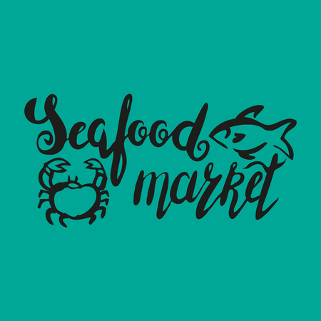 Lettering seafood market, hand drawn with brush pen, inc. Vector. Logo. Could be used for fish market. Vector.