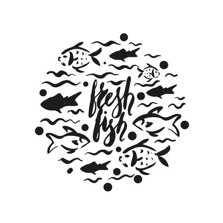Lettering fresh fish, round design, hand drawn with brush pen, inc. Vector. Logo. Could be used for fish market, restaurent, fishing. Vector 版權商用圖片