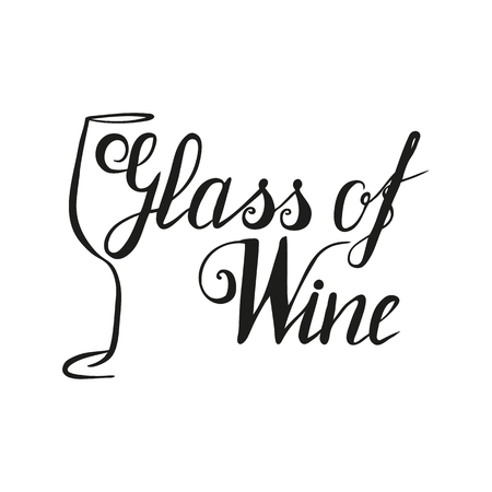 Hand drawn wineglass and lettering 向量圖像