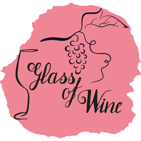 Hand drawn wineglass, grape and lettering