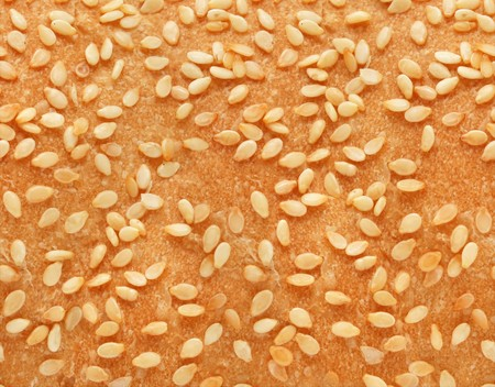 pips: texture of fresh bread with sesame pips Stock Photo
