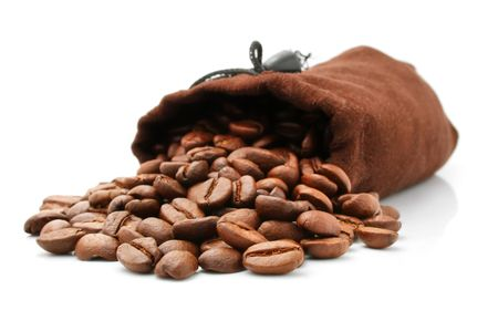 coffee bean in  sack isolated on white background photo