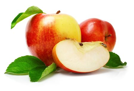 half an apple: red apple fruits with cut and green leaves isolated on white background