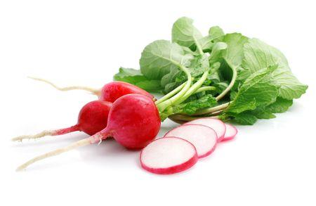bunch fresh radish with cut isolated on white background photo