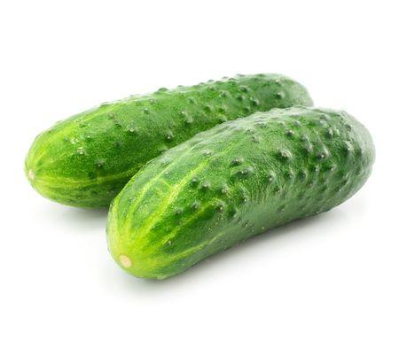 白の背景に分離されたキュウリ緑野菜フルーツ