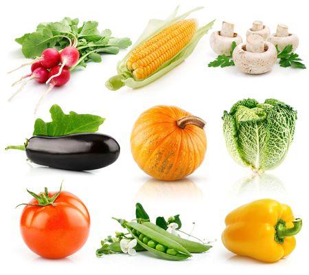 set of vegetable fruits isolated on white background photo