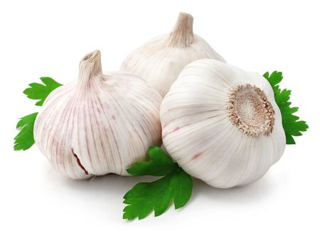 fresh garlic: fresh garlic fruits with green leaves parsley isolated on white background