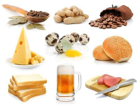 foods assortment isolated on white background photo