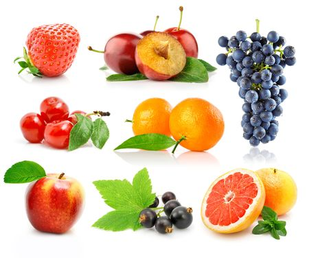 set fresh fruits with green leaves isolated on white background photo