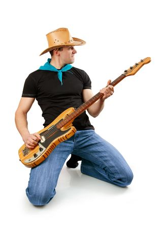 young man with bass guitar isolated on white background photo