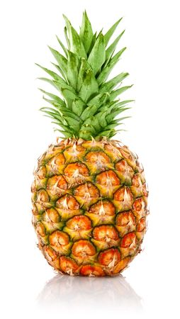 ripe ananas fruit with green leaves isolated on white background Stock Photo - 6573948