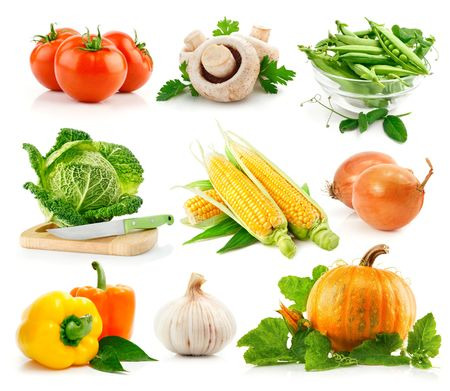 set fresh vegetables with green leaves isolated on white background photo