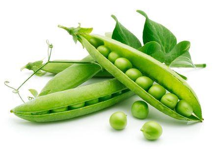 peas in a pod: fresh pea fruit with green leaf isolated on white background Stock Photo