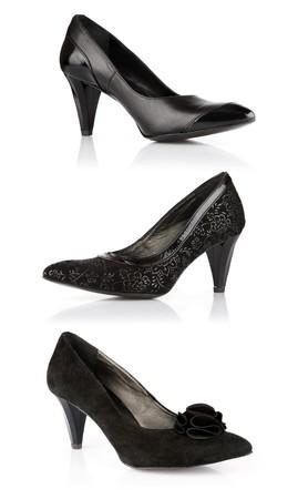 womanish: set black womanish shoes isolated on white background Stock Photo