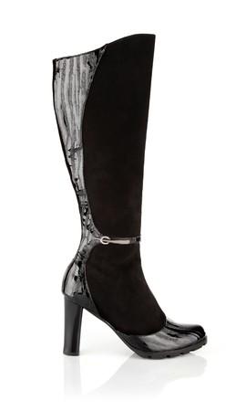 single black womanish shoes isolated on white background photo