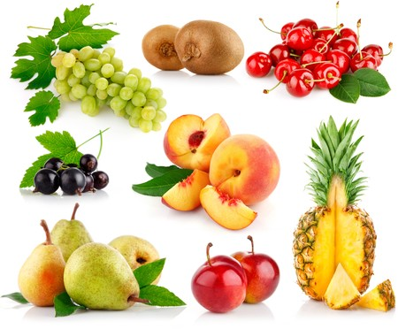 set fresh fruits with cut and green leaves isolated on white background Stock Photo - 7805272