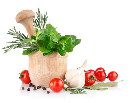 fresh spice and vegetables isolated on white background Stock Photo - 8654739