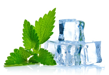 ice cube with leaf of melissaon white background