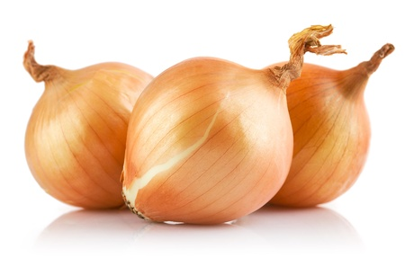 fresh onions vegetables isolated on white background Banco de Imagens
