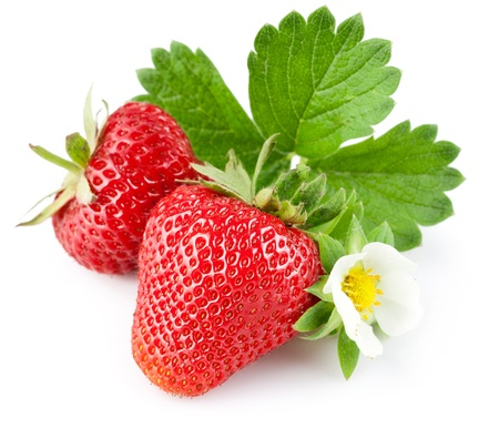 strawberry: strawberry berry with green leaf and flower isolated on white background Stock Photo