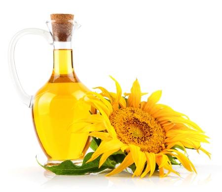 zonnebloemolie met bloem op een witte achtergrond