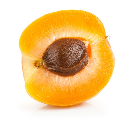 part of the fruits of apricot isolated on white background photo