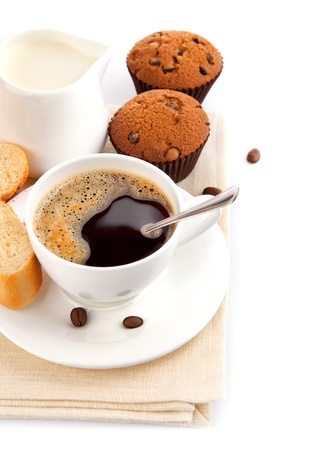 coffee with milk and cake isolated on white background photo