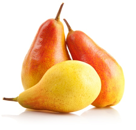 fresh pear fruits isolated on white background photo