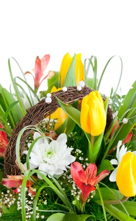 bouquet of yellow tulip flowers isolated on white background photo