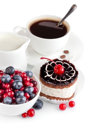 baked goods: chocolate cake with berries isolated on white background