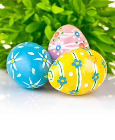 easter eggs: Easter eggs in the green grass isolated on white background Stock Photo